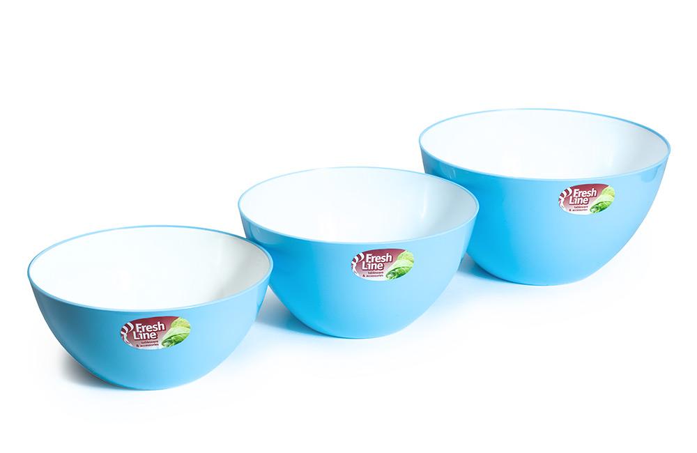 Миска двухцветная «Fresh Line», бело-голубая   1,5 л (Арт. М701БГ, d180),<br />2 л (Арт. М702БГ, d200),<br />3 л (Арт. М703БГ, d225)