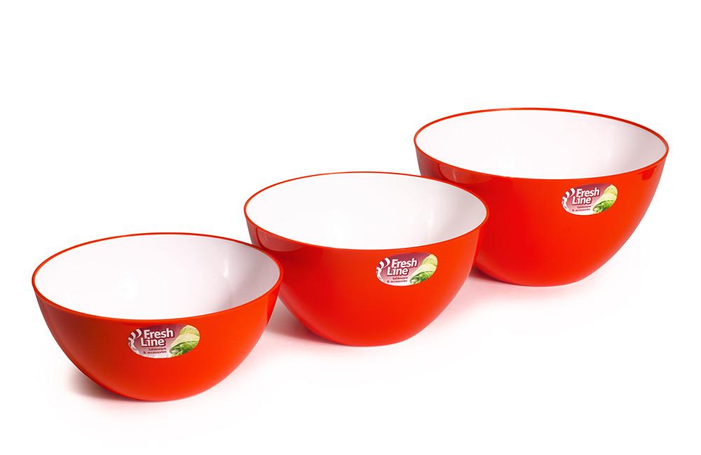 Миска двухцветная «Fresh Line», бело-оранжевая | 1,5 л (Арт. М701БО, d180),<br />2 л (Арт. М702БО, d200),<br />3 л (Арт. М703БО, d225)