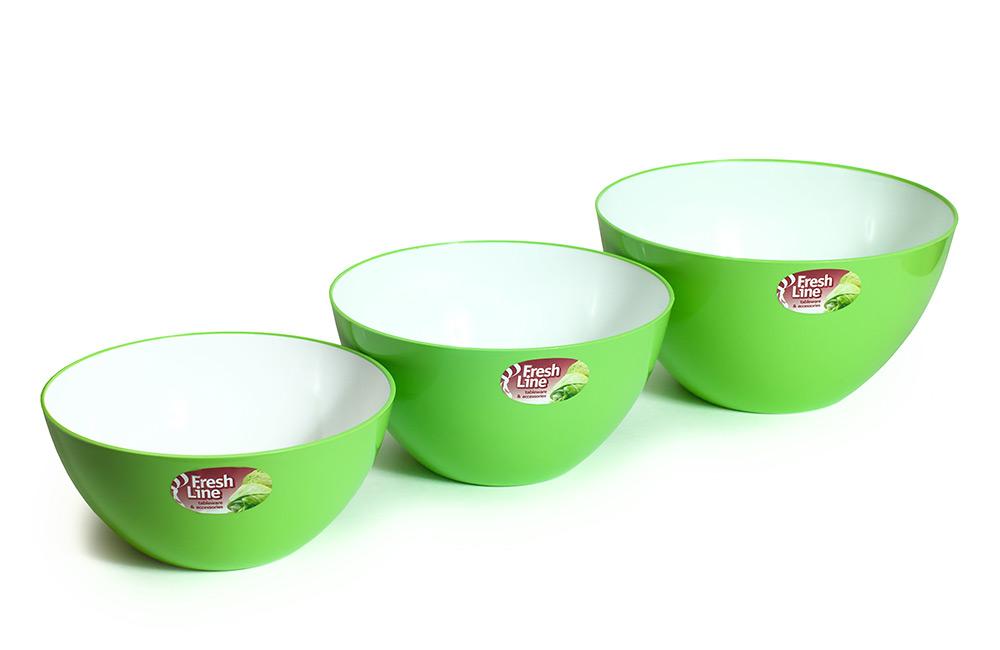 Миска двухцветная «Fresh Line», бело-зеленая | 1,5 л (Арт. М701БЗ, d180),<br />2 л (Арт. М702БЗ, d200),<br />3 л (Арт. М703БЗ, d225)