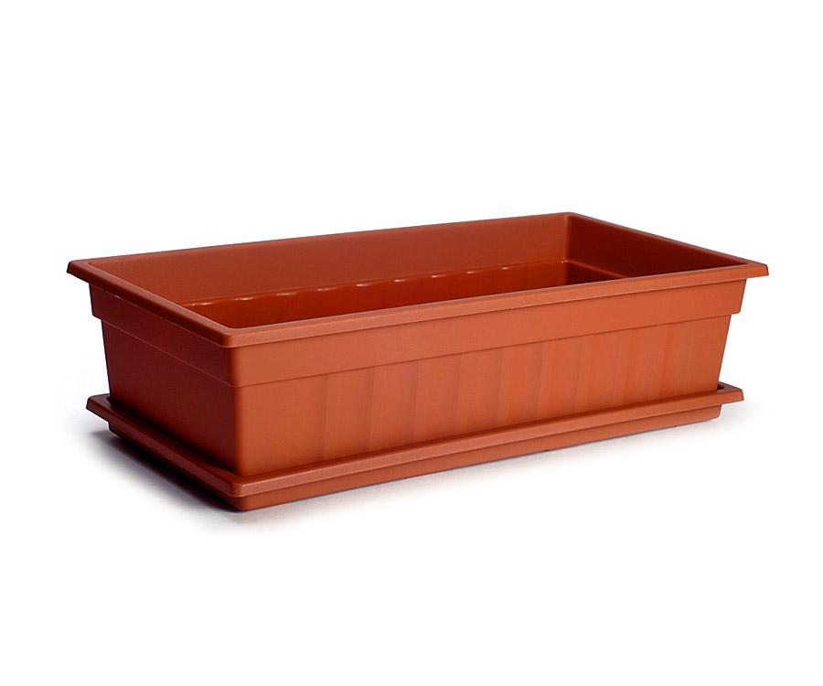 Ящик для рассады и цветов с поддоном «Домашняя грядка» терракотовый | Арт. М501Т - без поддона<br />Арт. М502Т - с поддоном